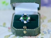 Antique Jewellery Ring Emerald Blue White Sapphires Vintage Deco Jewelry L 6