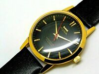 hmt sona hand winding mens gold plated black dial 17 jewel vintage india watch
