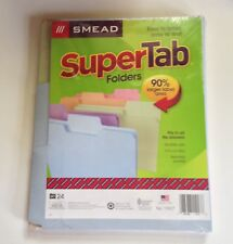 Smead Pastel Super Tab Folders 24 Letter Size 1/3 Cut Tabs 11927 Made in USA
