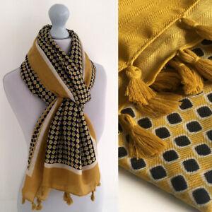 Ladies Large Diamond Tassel Scarf Mustard Yellow Shawl Herringbone Big Cotton