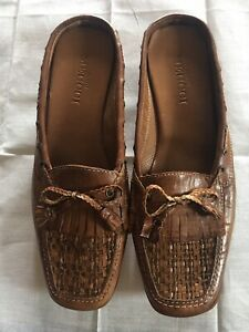 SESTO MEUCCI Brown Leather SLIP ON LOAFERS FLATS SHOES  8N