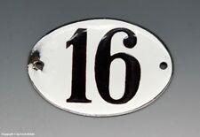 KLEINE...! ALTE EMAIL EMAILLE NUMMER 16 aus HOTEL ? um 1950...8 x 5,5 cm !!