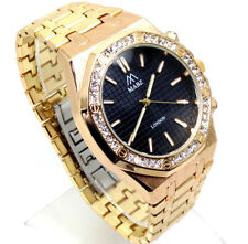 528Q Men Designer Style Luxury Wrist Watch Gold Band Diamante Black Dial Quartz