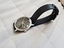18mm omega seamaster,deville gents watch genuine slim soft black leather strap