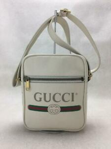 GUCCI Logo Leather 523591 Leather White Fashion Shoulder bag 1064 From Japan