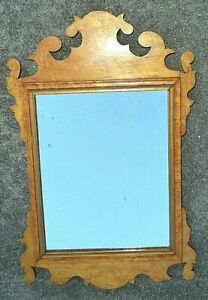 fine antique birds eye maple Chippendale mirror