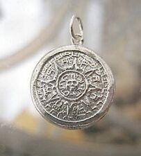 Tribal Mayan Aztec Calendar Sun Charm Sterling silver