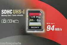 Carte SDHC Classe 10 Sony UHS HD 8 gb go 94MB/s * garantie 5 ans stock France