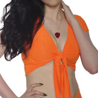 NEON ORANGE SHRUG BOLERO CROPPED  80'S FANCY DRESS TUTU RAVE CYBER ALTERNATIVE