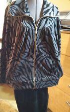 Style & Co 2pc Black & Gray Velour Jacket & Slack set  sz L
