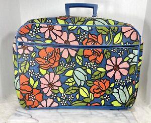 Vintage Blue Floral LUGGAGE Suitcase BAG Japan MCM Carryon Weekend Hippie 1960s