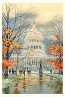 Capitol in the Fall Watercolor Painting by Roustam Nour | Free Shipping
