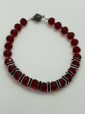 Ruby red bead faceted glass crystal bracelet with magnetic clasp fastening
