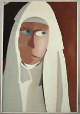 Vintage Circa 1960s Oil/Masonite Nun Female Portrait Painting Illegibly Signed