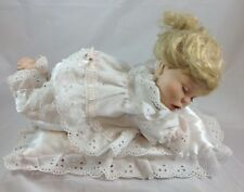 ARTMARK DOLL - PORCELAIN SLEEPING LITTLE GIRL WITH PILLOW  - 13 INCHES