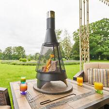 Steel Chiminea Fire Pit Outdoor Garden Patio Heater Burner BBQ Firewood Storage