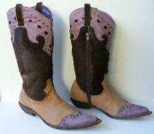 Sarkany Cowboy Boots 38 Leather Pony Fur Purple Lavendar Brown Furry Cowgirl 8
