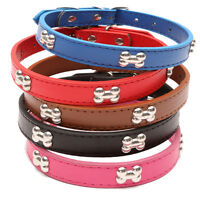 New Rhinestone PU Leather Crystal Bone Stud Puppy Collar Pet Dog Cat Collars SK