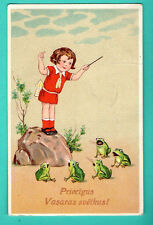 LATVIA LETTLAND GIRL AND FROGS SING VINTAGE POSTCARD USED 150