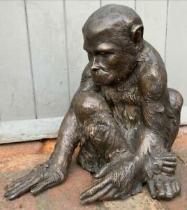 Bronze Sculpture of a Seated Monkey - Height 35cm - Bumblebee's on his Hand