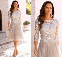 Light Gray Wedding Mother Of The Bride Dress Knee Length Lace Tulle Gowns A Line