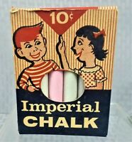 VINTAGE COLLECTIBLE IMPERIAL 12 PIECES COLORED CHALK WITH ORIGINAL BOX U.S.A.