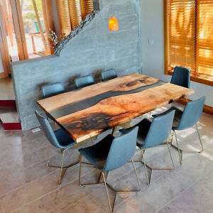 Epoxy Table, Epoxy Resin River Table, Live Edge Wooden Table, Natural Wood