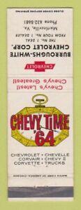 Matchbook Cover - 1964 Chevrolet Burroughs White Martinsville VA WEAR