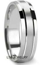 MENS WOMENS 10K WHITE GOLD WEDDING BANDS RINGS,SATIN and SHINY FINISH 6MM