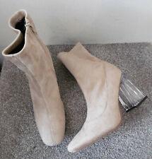 Truffle Nude Suedette Clear Heel Sock Boots Size UK 8 EU 41
