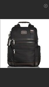 Tumi Alpha Bravo Backpack Laptop Bag Ballistic Nylon Black Leather Trim