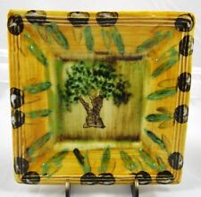 France Jacques Plate Dish Olive Tree Design Hand Painted Signed Vintage HTF