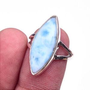 Republic Larimar Gemstone Handmade 925 Solid Sterling Silver Ring Size 7