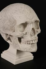 Marble Celtic Knotwork Skull Sculpture. Art, Gift, Ornament, Pagan.