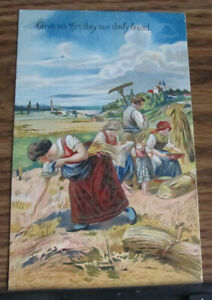 Vintage Postcard Religion Religious Give Us this Day our Daily Bread Harvest