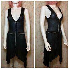 Y London Punk Zipper Dress, Sheer See-Through Knit, Size S