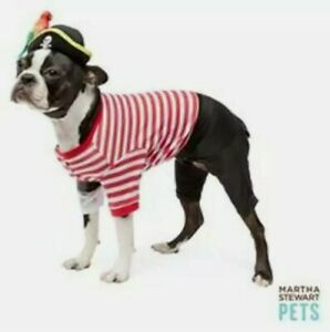 Martha Stewart Pets Stripe Pirate Dog Costume with Hat Parrot Large Halloween