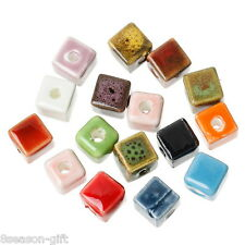 "50Pcs Multi-color Ceramic Square Beads 8mm x8mm( 3/8"" x 3/8"")"