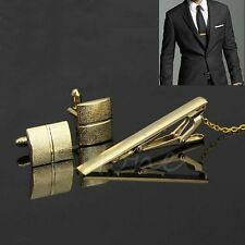 Gold Cuff Links and Tie Clip Set Cufflinks in gift bag Dress Business Formal UK