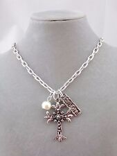 Silver Cross Necklace Amen And Pearl Charm Chunky Fashion Jewelry NEW
