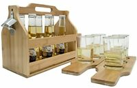 Sorbus Wooden Bottle Caddy with Opener, 6-Pack Drink Holder, Bamboo
