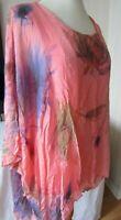 Obsession Lagenlook Orange Top One Size Boho Floaty Vest & 100% Silk Overlay