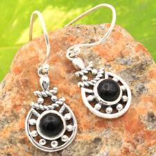 "SUMMER SALE -Round Black Onyx 925 Sterling Silver Dangle Earring Jewelry 1 3/8"""