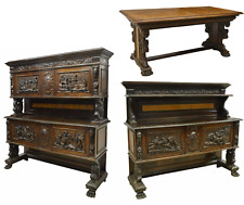 Antique Dining Set, Sideboards / Table Match Renaissance Italian Carved Walnut!!