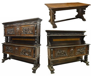 Antique Dining Set, 2 Sideboards / Table Match Renaissance Italian Carved Walnut