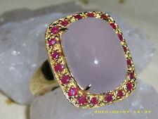 Rosenquartz Rubin 9 K Gelbgold Solitär Ring 10 ct