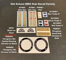 Old School Bmx Hub Decals -Choose 1 Pair- from Phil, Gt, Hutch and others-4 pics