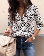 UK STOCK Women V Neck Ladies Leopard Print Chiffon Loose T Shirt Tops Blouse