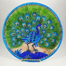"""HANDMADE Blue & Green Peacock Plate - 8"""" Painted Bird Wall Hanging Made in India"""