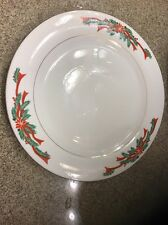 Fairfield POINSETTIA AND RIBBONS Christmas China dinnerware DINNER PLATE 10.5""